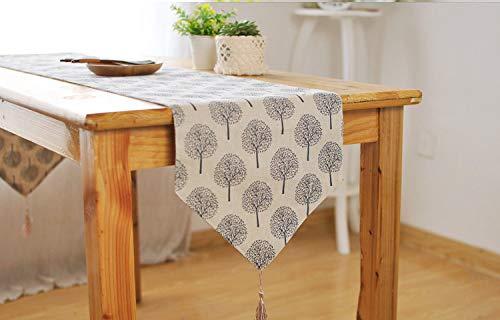 JYEW Washable Table Runners,Elegant Modern Cotton Linen White Tree Tablecloth With Long Tassels Rustic Boho Romantic French Farmhouse Fresh Tabletop Home Decor,30X140Cm