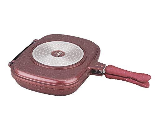 Ecomax Schäfer Doppelbratpfanne Aluminium Wendepfanne Induktion Drehpfanne Fischpfanne Grillpfanne mit Softgriffe - Durchmesser: 32cm, Rot