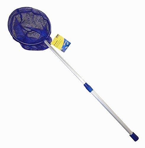 Idena 40079 - Kescher aus Aluminium mit ausziehbarer Teleskopstange, von ca. 57 cm bis ca. 84 cm, für Kinder oder zum Angeln, blau