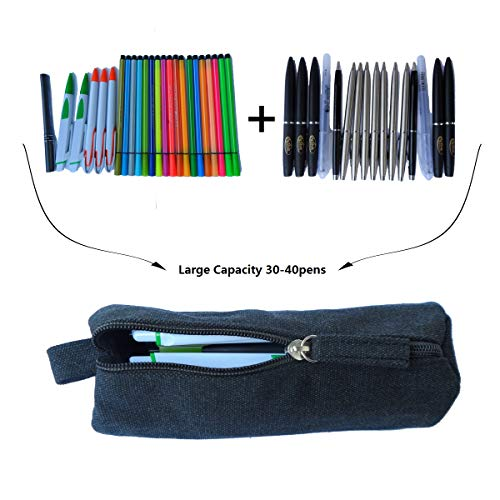 EnYu Heavy Canvas Stationery Portable Stylish Simple Pencil Bag and Practical Durable Compact Zipper Pencil Case 1 Pack Black Photo #4