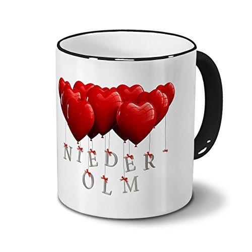 Städtetasse Nieder-Olm - Design Herzballons - Stadt-Tasse, City-Mug - Becher Schwarz
