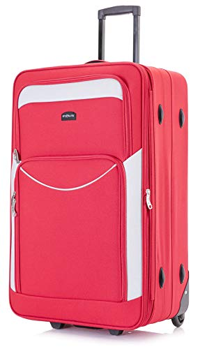 DK Luggage Starlite Lightweight Large Expandable Suitcases with 2 Wheels Red