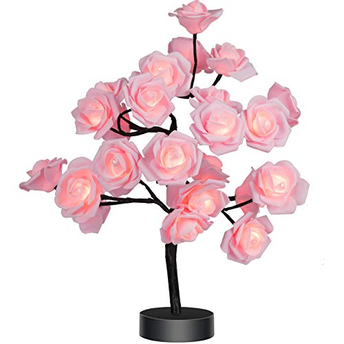 Table Lamp Rose Flower Desk Tree Lamp Gift for Girls Women Teens Home Décor for Wedding Christmas Living Room Bedroom Party with 24 Warm White LED Lights |Two Modes: USB/Battery Powered(Black)…