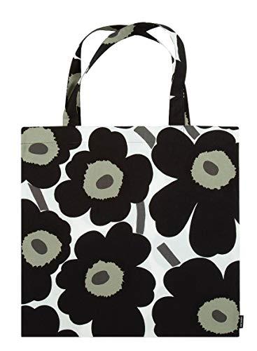 Marimekko - Tasche, Shopper, Einkaufstasche - Pieni Unikko - Baumwolle - Weiß-Schwarz - 44 x 43 cm