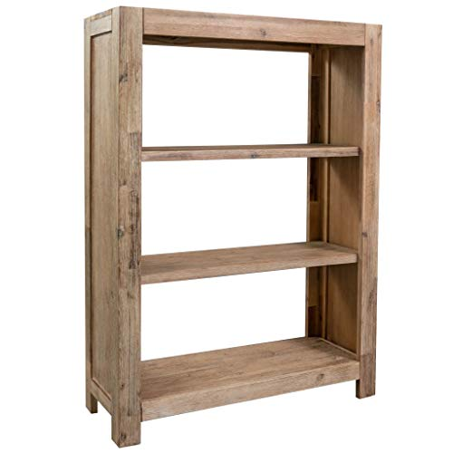 VidaXL boekenkast van acaciahout, 3 vakken, ruimteverdeler, staande kast, houten kast, staande kast, aktenrek, ruimteverdeler, plank, wandplank, vitrine 80 x 30 x 110 cm