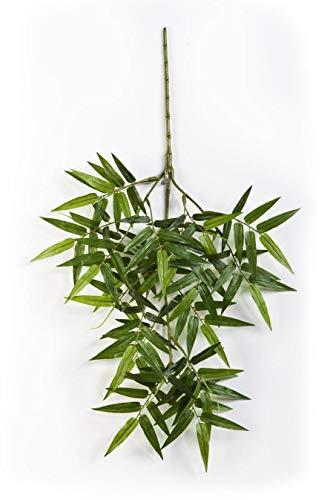 artplants.de Kunst Orientalischer Bambuszweig OSHA, 130 Blätter, grün, 55cm - Zweig künstlich - Bambus Deko