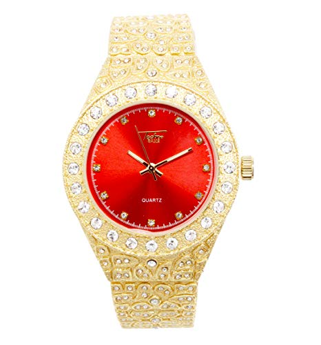 Mens 44mm Gold Hip Hop Iced Out Diamond Link Watch with Cubic Zirconia Crystals and Blinged Out Nugget Band - Quartz Movement - Resizeable Links (Red Dial)