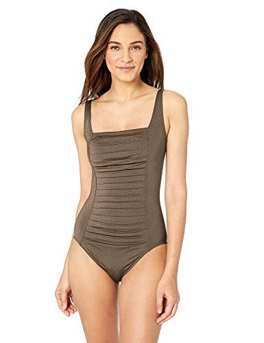 Calvin Klein Women's Pleated One Piece Swimsuit, Bronze, 18