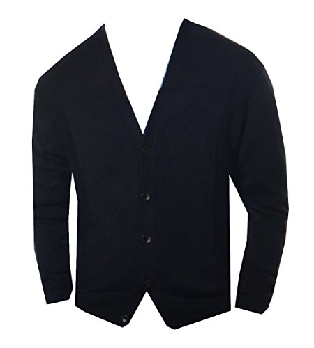 Perry Ellis Men Cotton Blend V-Neck Cardigan Sweater (M, Dark Sapphire)