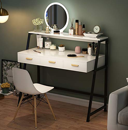 YXF Modern Dressing Table Set with Stool and LED Round Mirror Large Drawer Storage Shelves, Bedroom Furniture for Girls