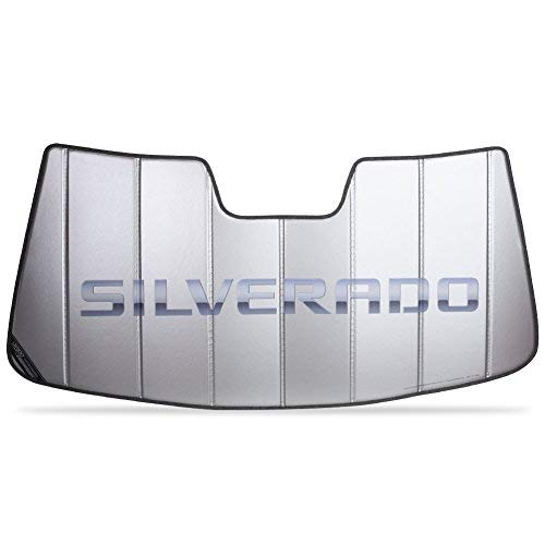 SR1 Performance Chevy Silverado Logo Accordion Style Sunshade - Insulated Silver : Chevy Trucks (2014-2019 No Lane Departure)