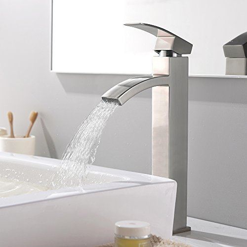 """VCCUCINE Contemporary Modern Brushed Nickel 12.52"""" Tall Bathroom Vessel Sink Faucet"""