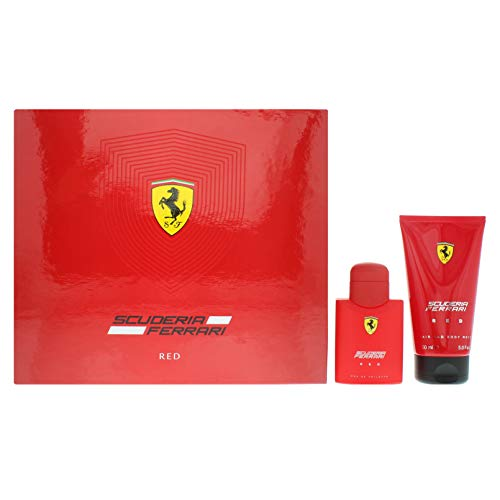 Ferrari Herren-Geschenkset Scuderia Ferrari Red Eau de Toilette Spray, 150 ml, für Haar und Körper, 2 Stück