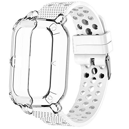 LvBu Kompatibel für Amazfit GTS Schutzhülle mit Displayschutz + Sport Silikonamrband, Flexibles TPU Vollschutz hülle (Clear hülle + Weiß Armband)