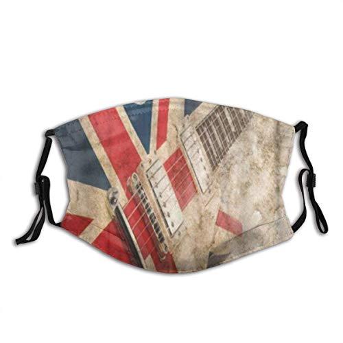 Musik Grunge Britischer Pop Gitarren Rock London Jack Union Brit Flagge GroßbritannienUnisex Anti Dust Cotton Mund Gesicht Schal, Waschbar, Wiederverwendbar
