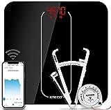 ILTECO Bascula de Baño Inteligente, Bascula de precision digital con Tecnologia Bluetooth conexión Android e iOS, Pantalla LCD, Tecnologia Handsfree   Color Negro