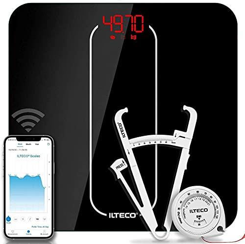ILTECO Bascula de Baño Inteligente, Bascula de precision digital con Tecnologia Bluetooth conexión Android e iOS, Pantalla LCD, Tecnologia Handsfree | Color Negro