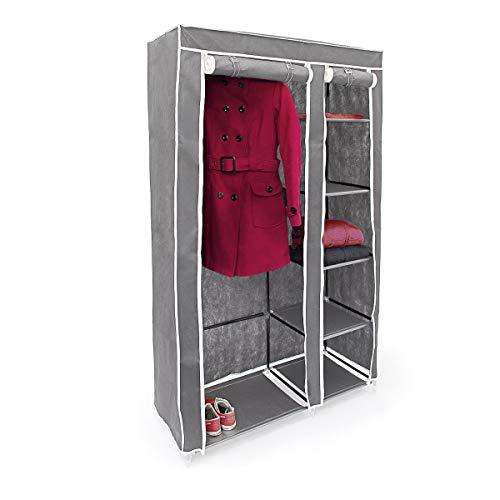 Relaxdays Faltschrank VALENTIN XL HxBxT: 174x107x42,5cm Stoffschrank aus Vlies mit Reißverschluss zur staubfreien Lagerung faltbarer Kleiderschrank mit 5 Ebenen als Zelt-Schrank zum Camping, anthrazit