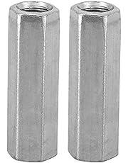 Lange koppelingsmoeren, M8 zeskantconnectormoeren Bevestigingsmiddelen voor doorlopende draadstang 0,47 inch lengte stuks-10(Zilver)