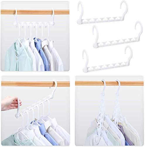 Platzsparende Kleiderbügel 8er Set, Magic Raumsparbügel Version 2.0 - Für mehr Ordnung und Platz in Ihrem Zuhause – Weiss