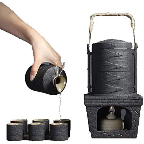 Mnjin 9-teiliges Sake-Set von Generic Brands, Sake-Set aus schwarzer Keramikglasur mit wärmerem Topf und Kerzenherd für kalt/warm/Tee