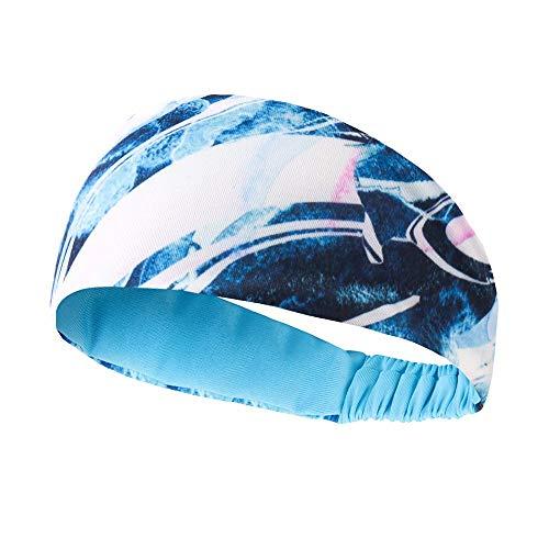 HSTD Diadema De Fitness, Diadema Deportiva Elástica, Diadema Antideslizante Que Absorbe El Sudor, Diadema Deportiva Adecuada para Yoga, Correr, Gimnasio, Ciclismo (Azul)