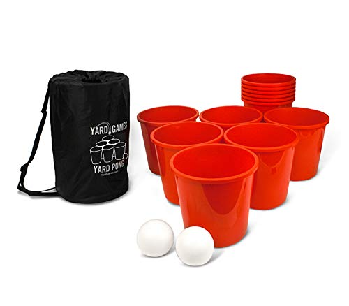 Yard Games Giant Yard Pong with Durable Buckets and Balls Including High Strength Carrying Case