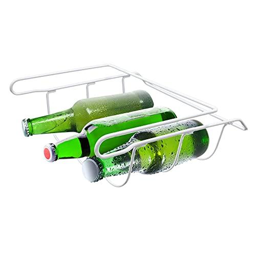 Estante de cerveza universal para refrigerador, soporte de botella de vino de metal con capacidad para 3 botellas, bebidas de agua para la mayoría de los refrigeradores