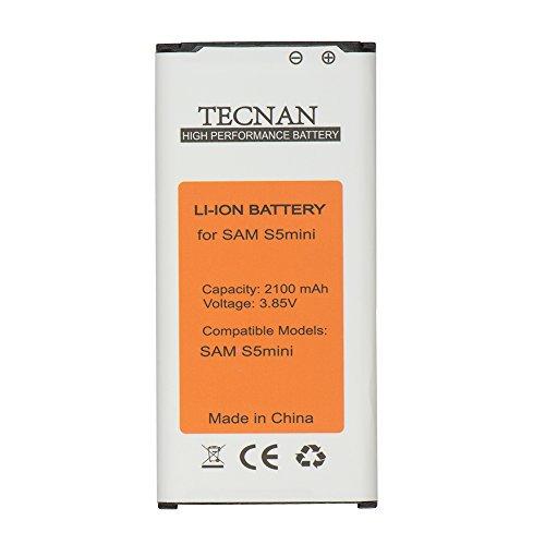 tecnan Akku Batterie Ersatz für Samsung Galaxy S5 Mini SM-G800F, ersetzt EG-BG8000BBE Handy Ersatzakku Battery Handyakku Li-Ion 2100 mAh, Akku S5 Mini - mit NFC