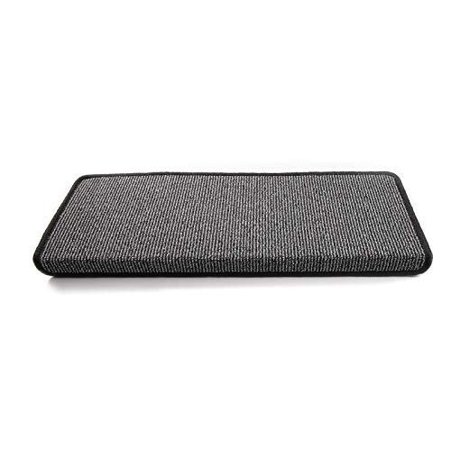 Floordirekt Stufenmatten Tobago für Treppenstufen innen | 24 x 65 cm | rechteckig & selbstklebend | hochwertig erhältlich (15 Stück, Anthrazit)