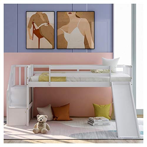 WYFDJ Twin Size Low Pine Wood Loft Bed with Adjustable Slide and Staircase for Children's Bedroom with Sturdy Guardrails for Children's Dormitory U.s. Local Delivery Goods Can Arrive Quickly