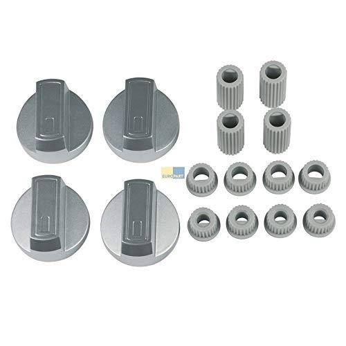LUTH Premium Profi Parts Universal Knebel Set 38mmØ Silber 16-teilig als Ersatz für Herden Backöfen