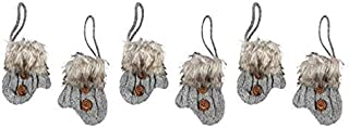Northeast Home Cable Knit Mitten Hangers with Faux Fur Cuffs Christmas Ornaments, Set of 6 (Gray)