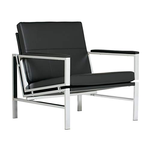Studio Designs Home, Black, Modern Atlas Accent Chair for Living Room Bedroom, Bonded Leather,