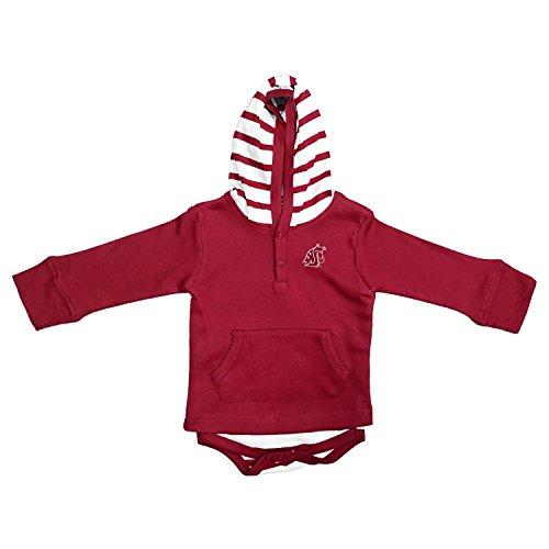 Two Feet Ahead NCAA Washington State Cougars Baby Striped Hooded Sweatshirt Creeper, 12mo