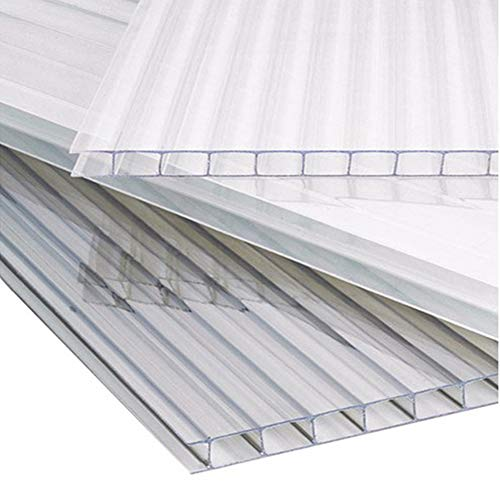 The Fellie Polycarbonate Greenhouse Sheets Poly Plastic Roof Panel 14pcs for Outdoor Canopy Carport Cold Frame Replacement Shed Panel, 610x1220x4mm-Clear