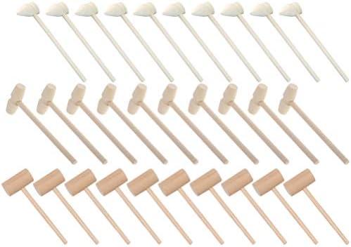 Gadpiparty 30 stuks houten hamer stempelspeelgoed voor kinderen peuters krabbenhamer kreefthamer hamer voor chocolade educatief speelgoed