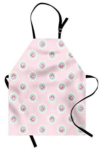 ABAKUHAUS Shabby Chic Delantal de Cocina, Estilo Retro Fondo a Lunares y Motivos Florales Rosas Campestre, Resistente al Agua y la Suciedad Estampa Digital, Rosa Bebé
