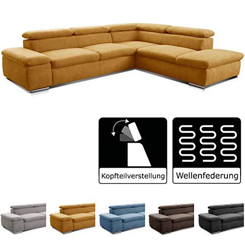 Cavadore Ecksofa Alkatraz / L-Form Sofa groß mit Ottomanen rechts und verstellbaren Kopfteilen / Modernes Design und hochwertiger Webstoff-Bezug / 274 x 66 x 228 cm / Gelb (Paris mustard)