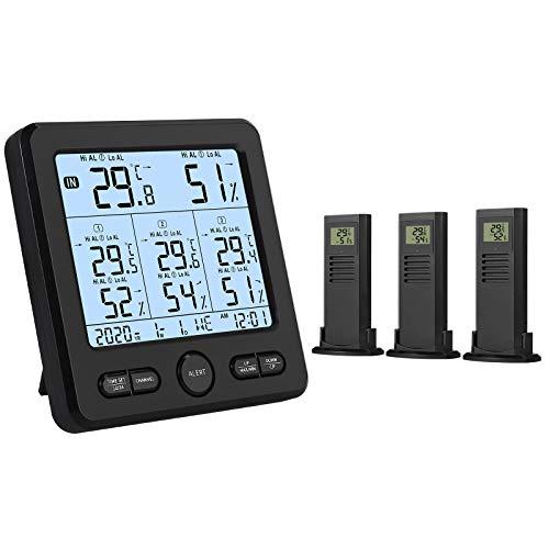 Neoteck Termómetro Higrómetro Digital Inalámbrico con 3 Sensores Remotos LCD Digital Medidor de Temperatura/Humedad Interior y Exterior USB para Cargar Valor Mínimo/Máximo y Alarma