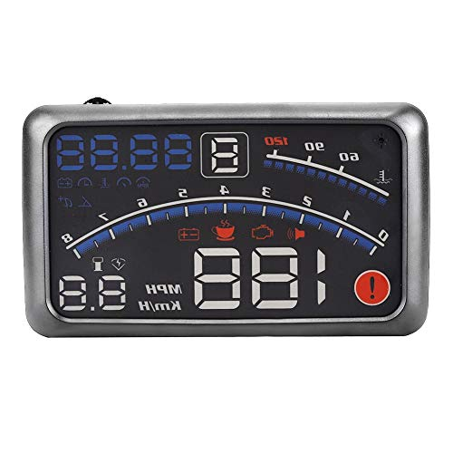 HUD de 5.5 pulgadas, Universal F4 MPH Velocímetro, Alarma de Velocidad, Pantalla MPH KM h para Coche con Sistema ODB2