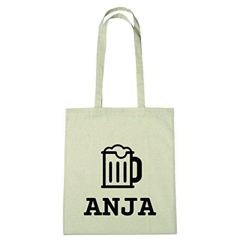 JOllify Baumwolltasche - Happy Birthday für ANJA - Bier Gruß