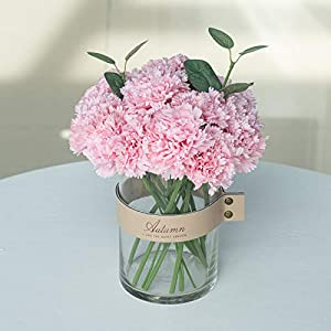 Billibobbi ,Artificial Flowers with Vase, Fake Carnation Flowers in Belt Vase,Ins Style Faux Floral Decoration for Home Decor,Pink,Small