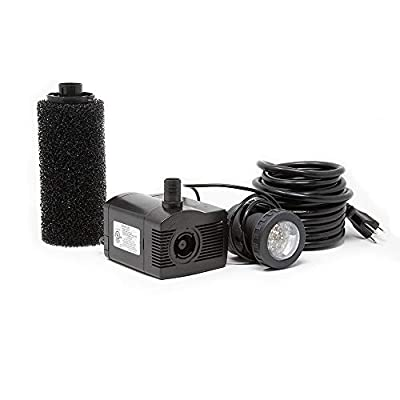 Beckett Corporation 450 GPH Submersible Fountain and Pond Pump with LED Light - Water Pump for Indoor/Outdoor Ponds, Fountains, Fish Tanks, Aquariums, and Waterfalls - 8' Max Fountain Height, Black
