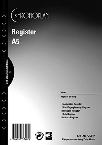 Inhaltsregister für A5 CHRONOPLAN 50402