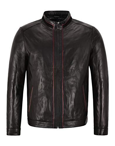 Smart Range Leather Racer Chaqueta de Cuero para Hombre Bikers Negros Tops Casuales Chaqueta de Piel de Cordero Italiana 465