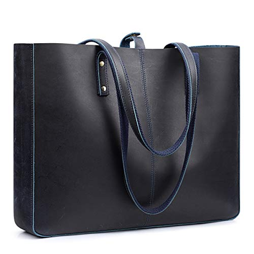 S-ZONE Women Vintage Crazy Horse Leather Tote Shoulder Bag Handbag Brown (Blue)