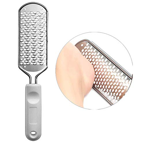 Huakai Metal Pedicure Foot File Callus ReducerBest Foot Care Pedicure Metal Surface Tool to Remove Hard Skin Can be Used on Both Wet and Dry Feet Surgical Grade Stainless Steel File