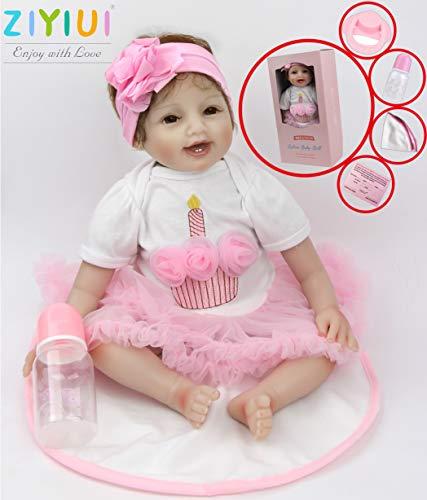 ZIYIUI Muñecas Bebé Reborn Niña 22 Pulgadas 55 cm Silicona Suave Vinilo Realista Exquisito Hecho a Mano Chupete Magnético Juguetes de Niño y Niña Mejores Reborn Toddlers