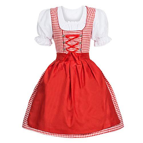SuperSU 3 Stück Damen Dirndl Kleid Bayerisches Bier Mädchen Oktoberfest Cosplay Kostüme Tube Kleid Strandkleider Partykleid Mini Abendkleid Minikleid Dienstmädchen-Outfit Kellnerin Uniformen